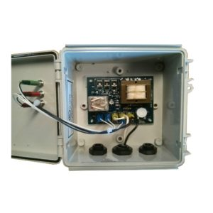 Picture of a pump control relay open showing the inside of a plastic container